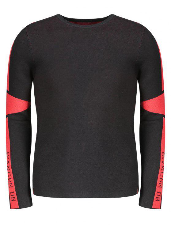 womens Two Tone Sweater - RED WITH BLACK 2XL