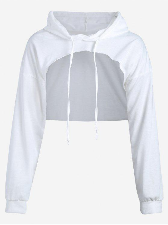 affordable Cut Out Drawstring Crop Hoodie - WHITE S