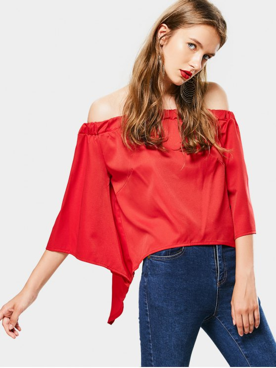 women's Flare Sleeve Off Shoulder Blouse - RED L