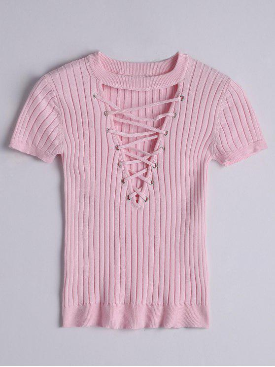 ladies Ribbed Knit Lace Up Top - PINK M