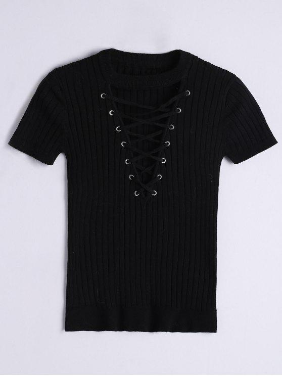 new Ribbed Knit Lace Up Top - BLACK S
