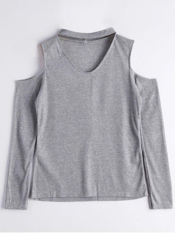 latest Knitted Cold Shoulder Choker Top - GRAY XL