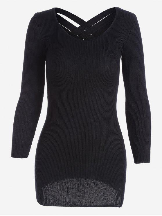 buy Long Sleeve Ribbed Knitted Dress - BLACK ONE SIZE