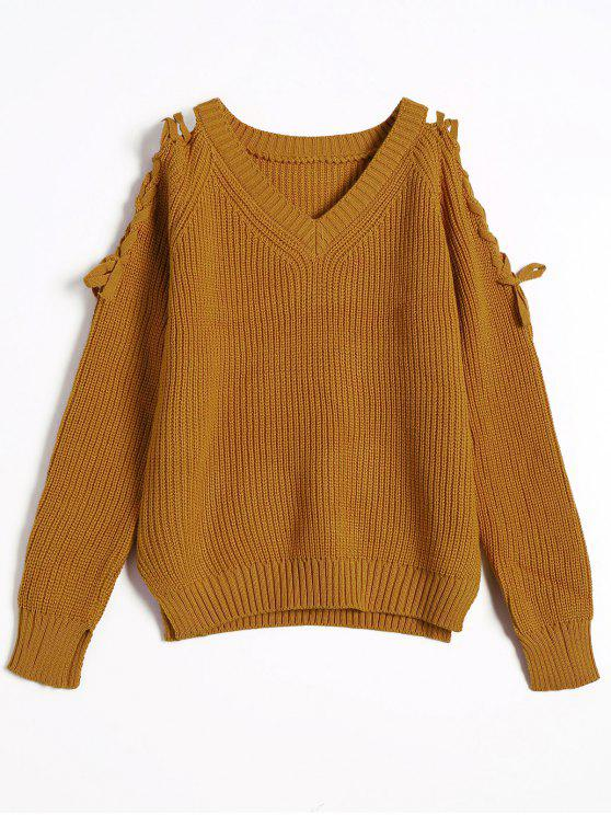 womens V Neck Loose Lace Up Sweater - LIGHT COFFEE ONE SIZE