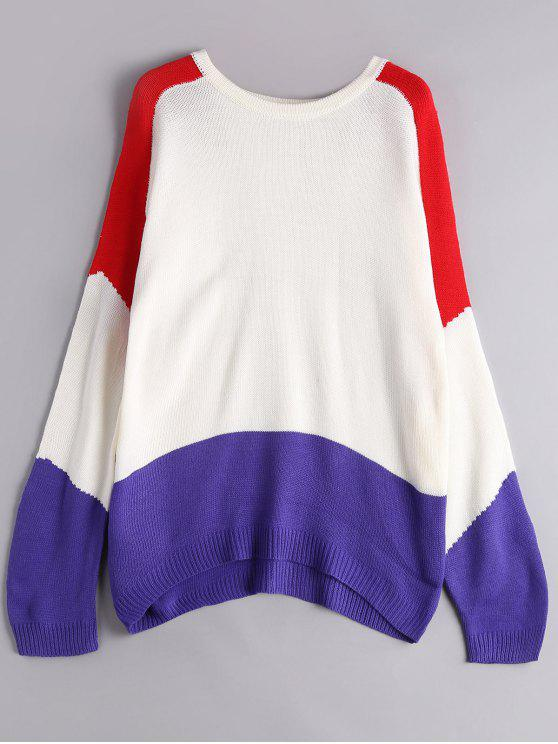 women Color Block Crew Neck Sweater - WHITE ONE SIZE