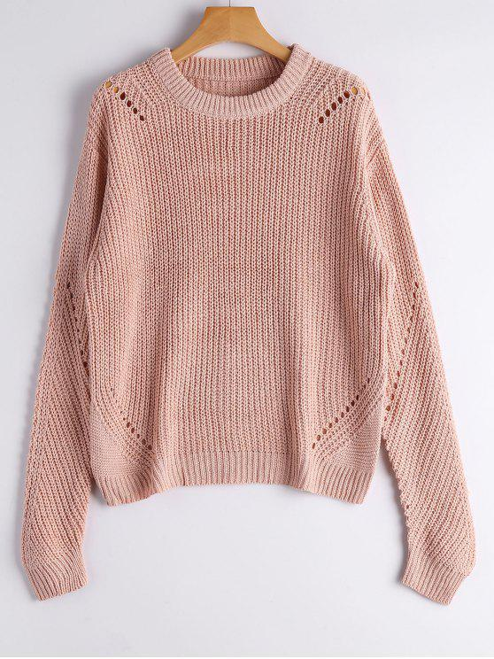 women's Crew Neck Loose Chunky Sweater - NUDE PINK ONE SIZE