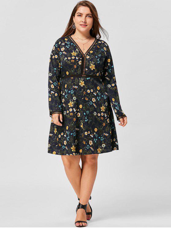 Übergröße Kleid mit Blumenmuster ,V-Ausschnitt und Langarm - Schwarzblau 2XL