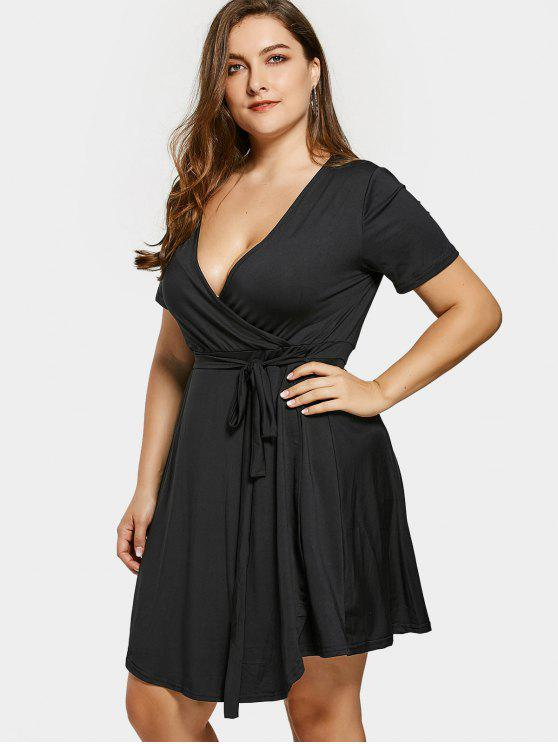 b87795c337e09 31% OFF  2019 Self Tie Plus Size Surplice Dress In BLACK