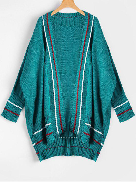lady Contrast Open Front Long Cardigan - PEACOCK BLUE ONE SIZE