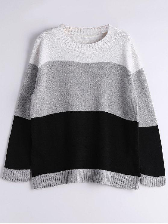 hot Long Sleeve Contrasting Stripes Sweater - GRAY ONE SIZE