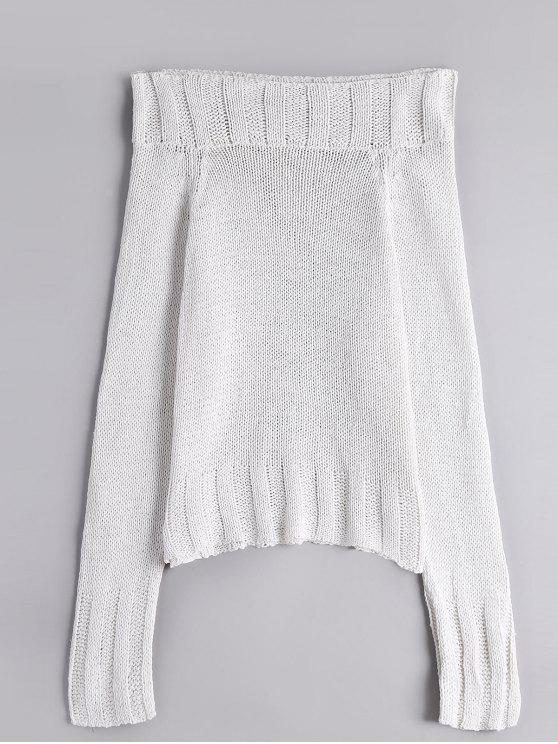 outfit Chunky Off Shoulder Sweater - WHITE ONE SIZE