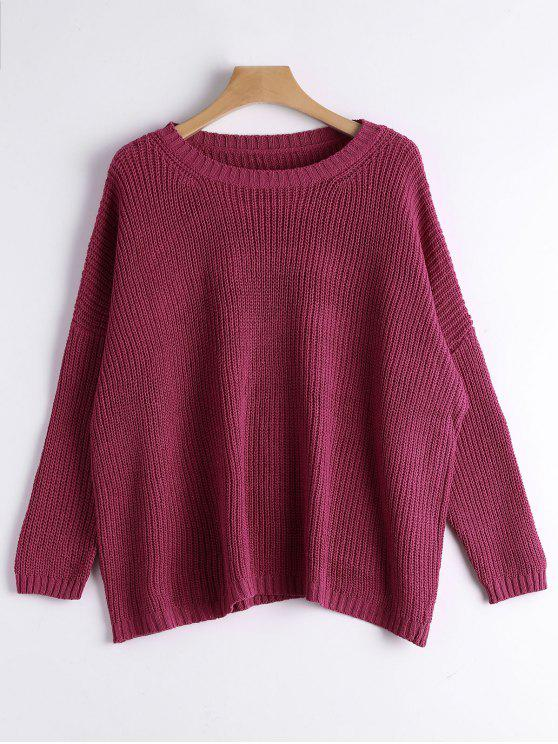 shops Drop Shoulder Oversized Sweater - PURPLISH RED ONE SIZE