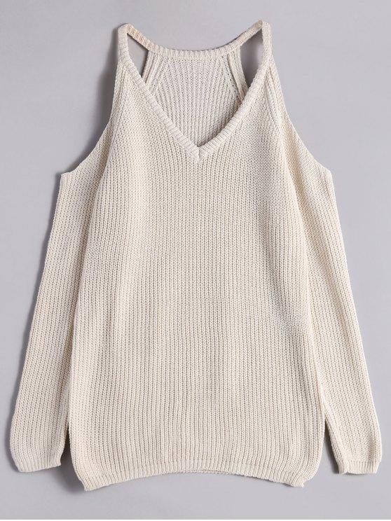 latest V Neck Chunky Cold Shoulder Sweater - WHITE ONE SIZE