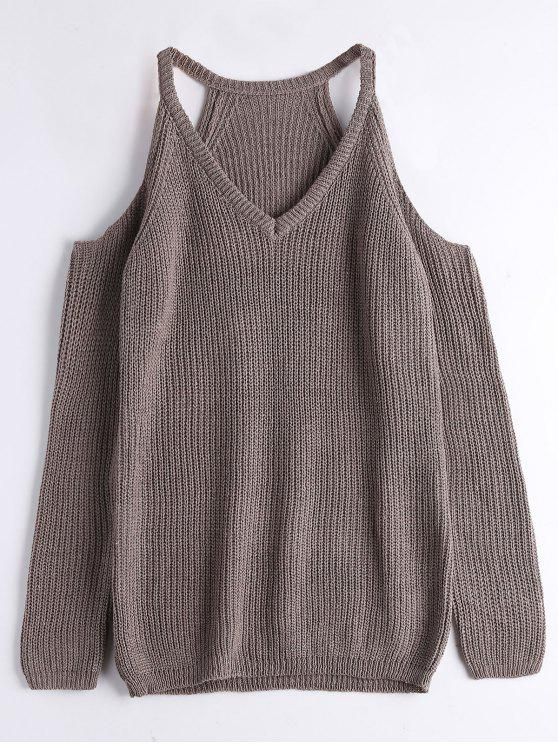 trendy V Neck Chunky Cold Shoulder Sweater - GREYISH BROWN ONE SIZE