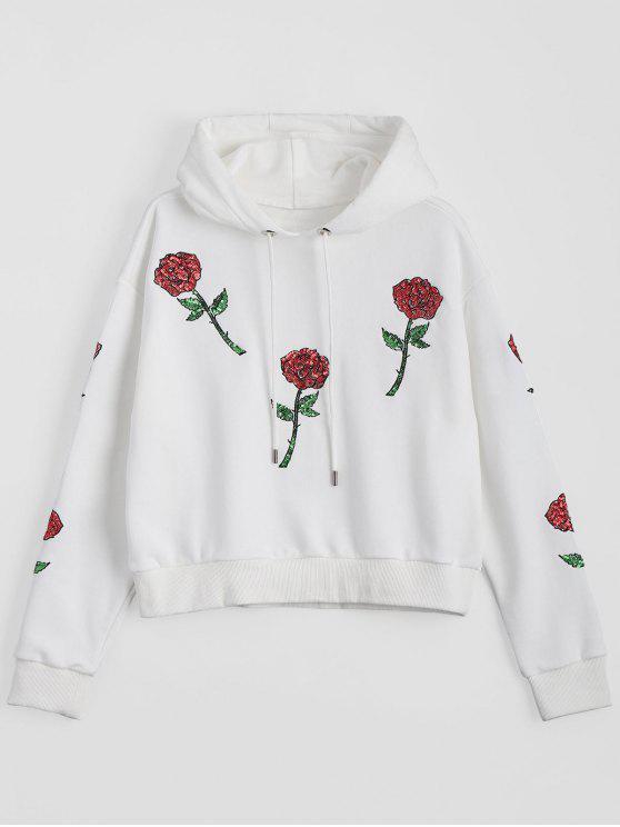 Sweat à Corde Motifs Floraux à Paillettes - Blanc L