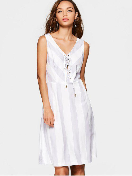 unique V Neck Lace Up Sleeveless Striped Dress - STRIPE S