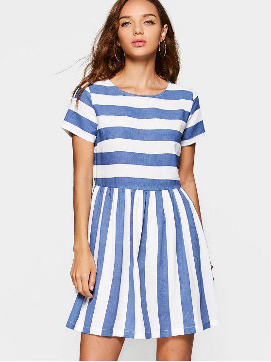 women Round Collar Striped A Line Dress - STRIPE M