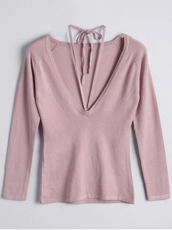 Pull Col Scoop à Lacets - ROSE PÂLE M