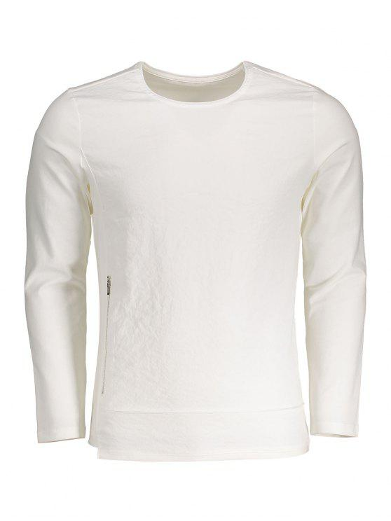 ladies Zippered Cotton Long Sleeve Top - WHITE 3XL