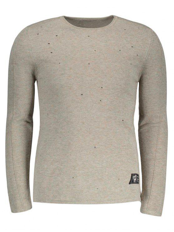 Baumwolle Distressed Sweater - Khaki 2XL