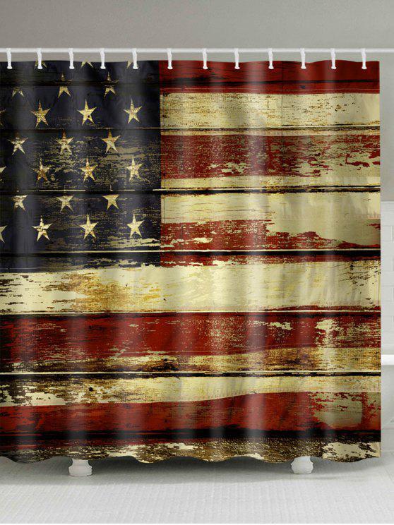 ديسترسد، العلم الأمريكي، حمم، إستحمام، كورتين - مزيج ملون W71 بوصة * L79 بوصة