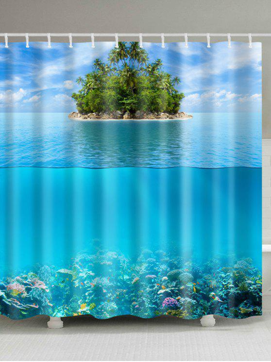 المحيط جزيرة ماء البوليستر دش الستار - البحيرة الزرقاء W71 بوصة * L71 بوصة