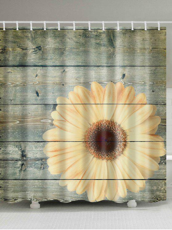 Plank Sunflower Bathroom Decor Shower Curtain Wood W71 Inch L71