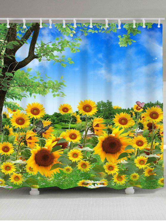 أشجار وعباد الشمس نمط ماء دش الستار - الأصفر W71 بوصة * L79 بوصة