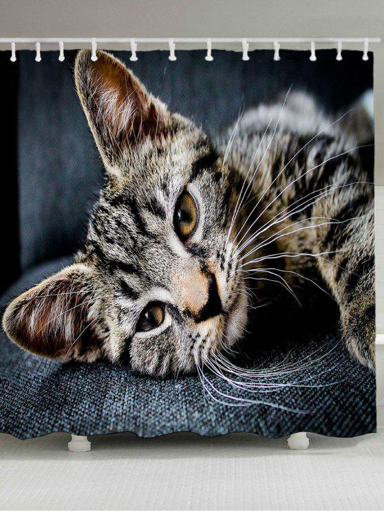 لطيف القط نمط ماء دش الستار - الرمادي الداكن W79 بوصة * L71 بوصة