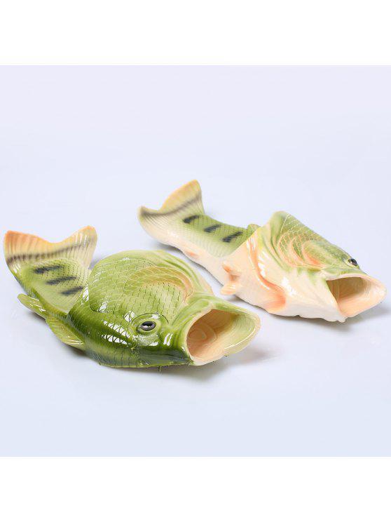 البلاستيك اللون كتلة الأسماك على شكل شباشب - GREEN حجم (41-42)