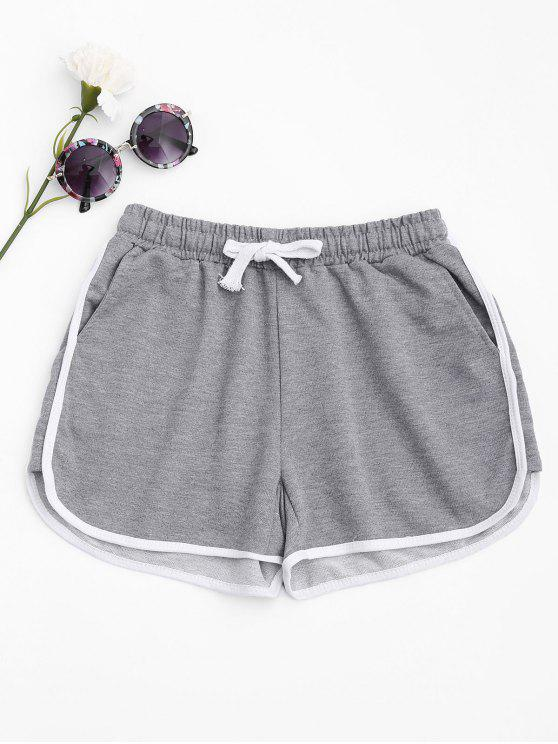 womens Contrast Trim Running Shorts - LIGHT GRAY S