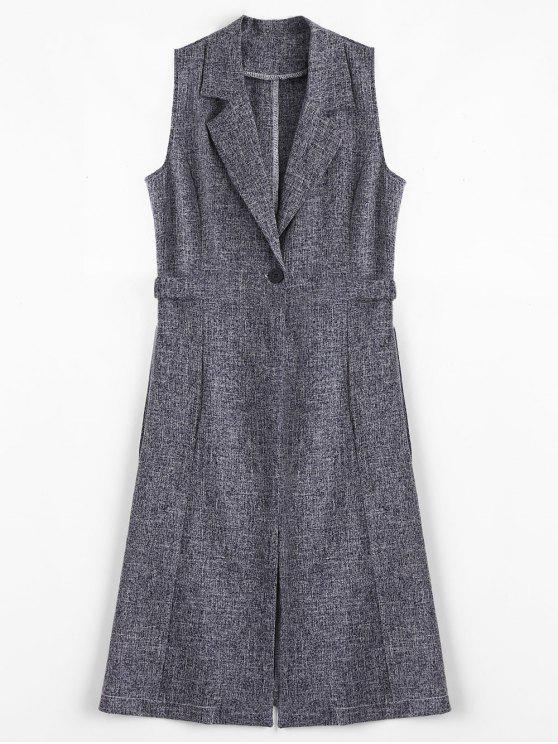 Metal Rings High Slit Long Waistcoat - Cadetblue / Cinzento L