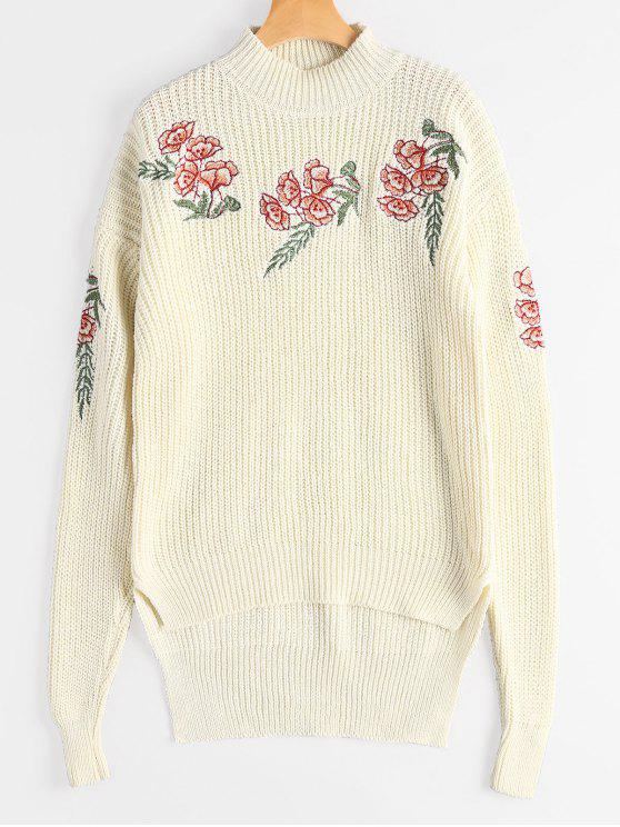 Embroidered Chunky High Low Sweater - Off-white