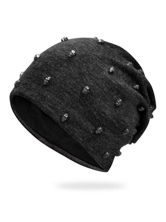 صغيرة الجمجمة برشام مزين الهيب هوب قبعة - أسود رمادي