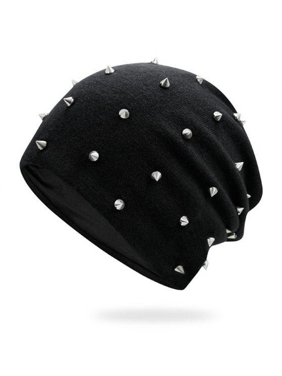 صغيرة برشام منمق محبوك قبعة قبعة - أسود