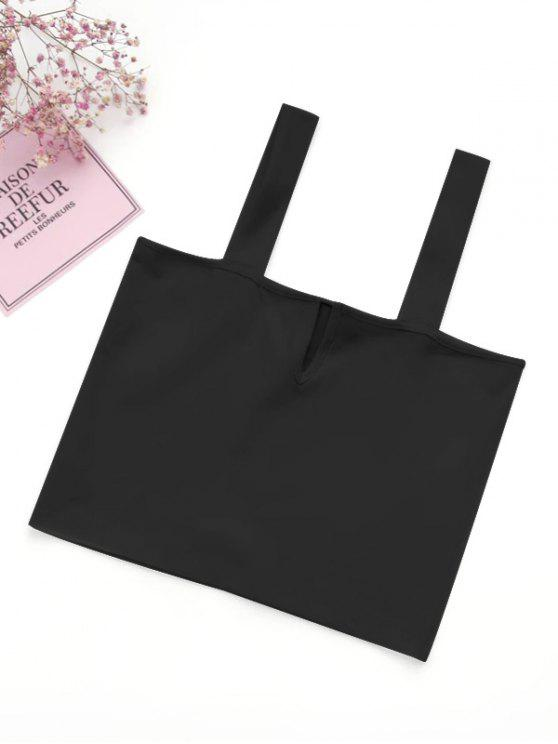 lady Casual Straps Crop Top - BLACK S