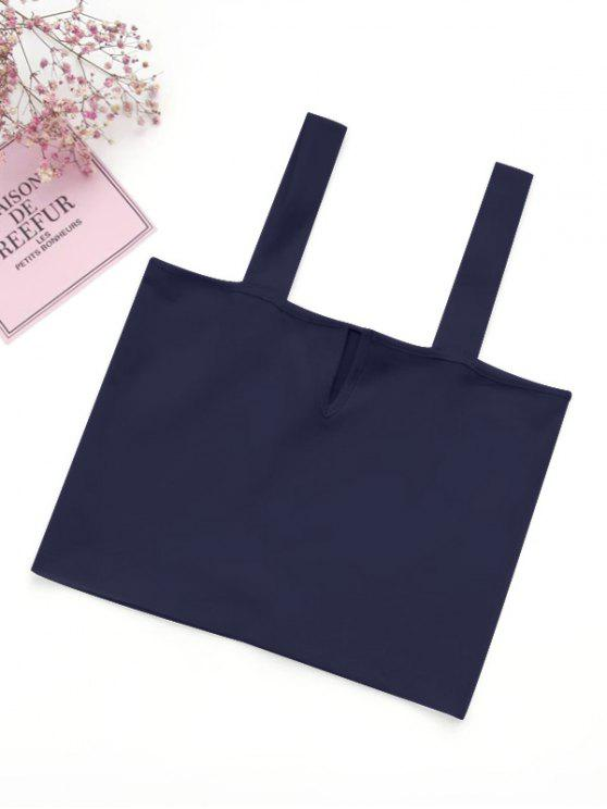 shop Casual Straps Crop Top - PURPLISH BLUE M