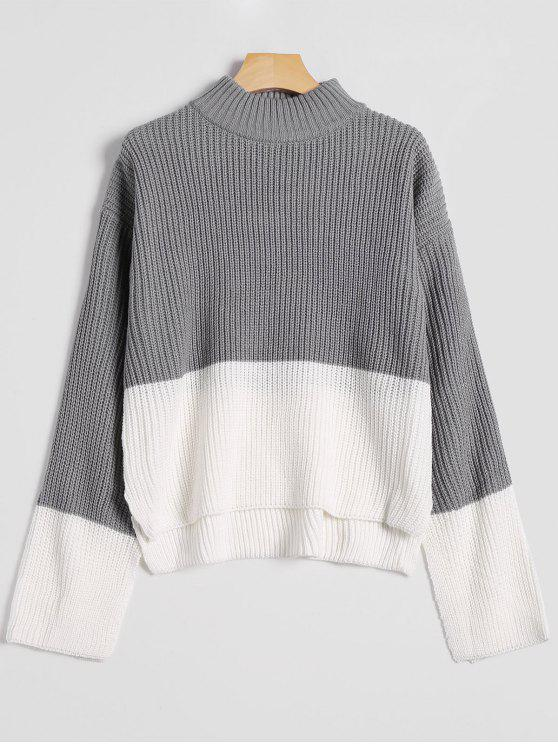 chic High Low Drop Shoulder Mock Neck Sweater - GRAY ONE SIZE
