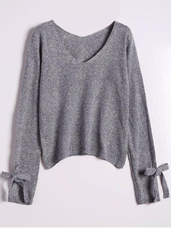 new V Neck Bow Tied Sweater - GRAY ONE SIZE