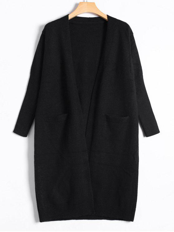 chic Collarless Long Knitted Cardigan - BLACK ONE SIZE