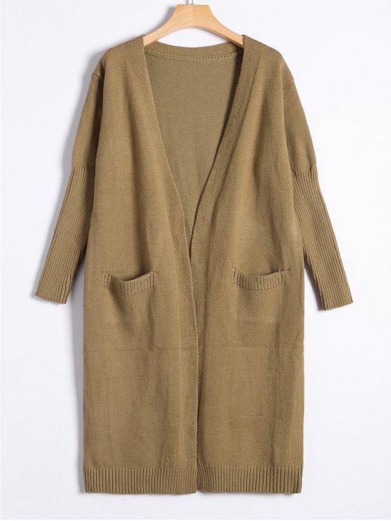unique Collarless Long Knitted Cardigan - KHAKI ONE SIZE