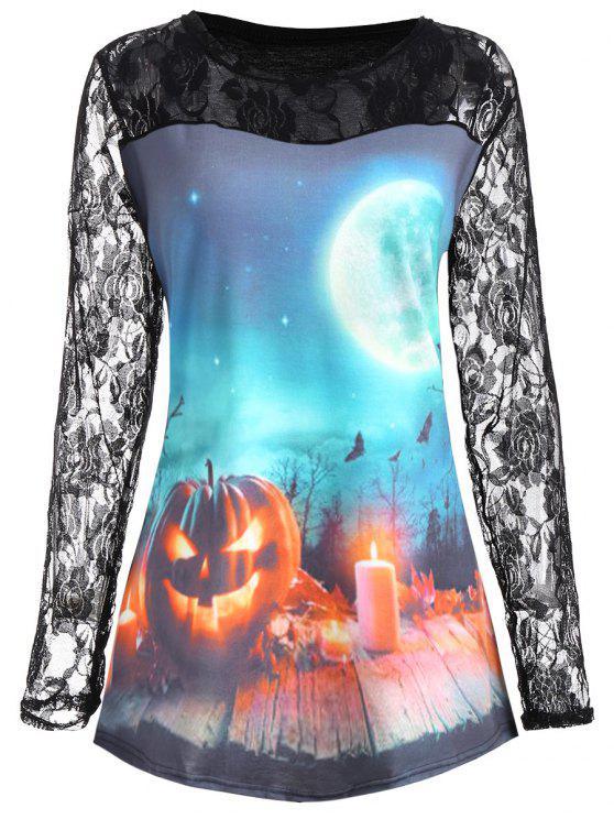 Tamanhos de tamanho grande Halloween Pumpkin Moon Lace Panel T-shirt - Azul Claro XL