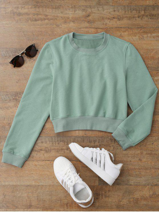 new Crew Neck Casual Cropped Sweatshirt - LIGHT GREEN L