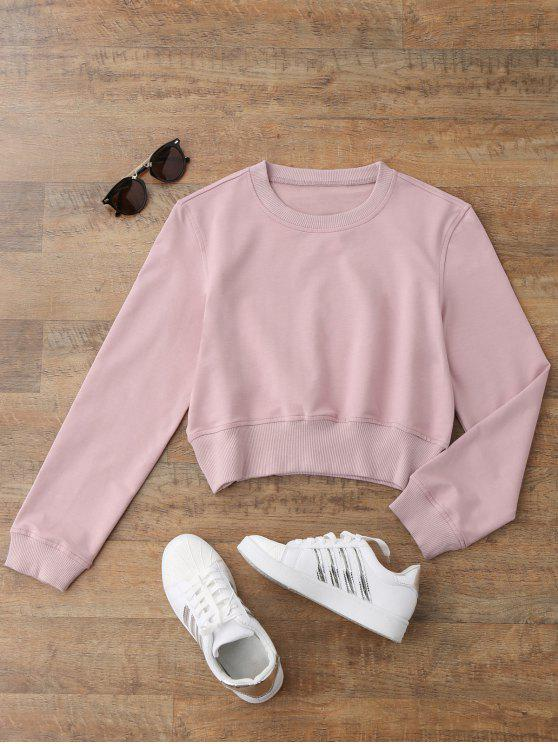 fashion Crew Neck Casual Cropped Sweatshirt - SHALLOW PINK S