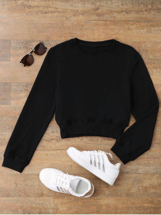 unique Crew Neck Casual Cropped Sweatshirt - BLACK S