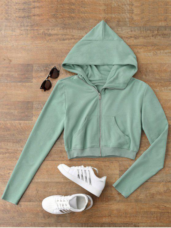 affordable Zip Up Cropped Sweatshirt - LIGHT GREEN M