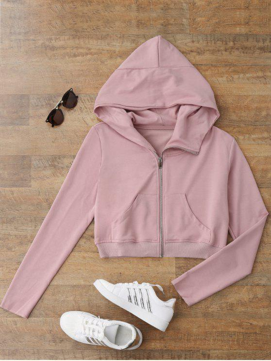 hot Zip Up Cropped Sweatshirt - SHALLOW PINK S