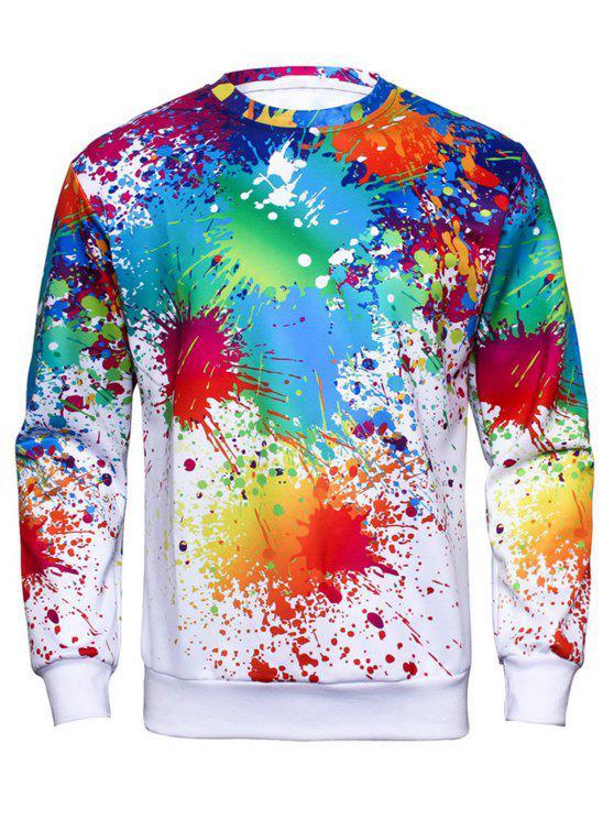 Sweat-shirt Peinture Colorée Splash Impirmé à Col Rond - Multicolore XL