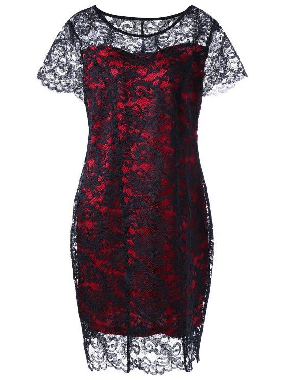 Plus Size Two Tone Lace Mantel Kleid - Rot & Schwarz XL
