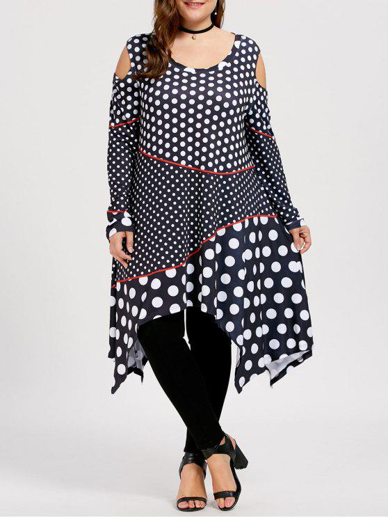 Polka Dot Plus Size Apra la spalla in alto - Nero 5XL